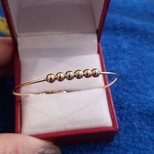 14k Vintage Yellow gold baby bead bangle